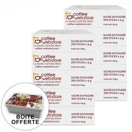 Sucre Coffee-Webstore en Boite Distributrice - 5 boîtes - 1000 buchettes + boite offerte