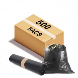 Sac poubelle à lien coulissant - 50 L - 26 microns - Par 500