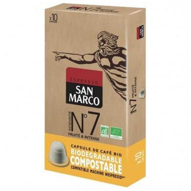 Capsules Nespresso compatible - biodégradable et compostable - N°7 Bio San Marco - 10 capsules