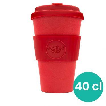 Mug en Bambou écologique, avec couvercle - Red Down - 40 cl