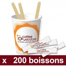 Pack Café - Coffee Webstore - 200 gobelets, 200 spatules, 200 sucres