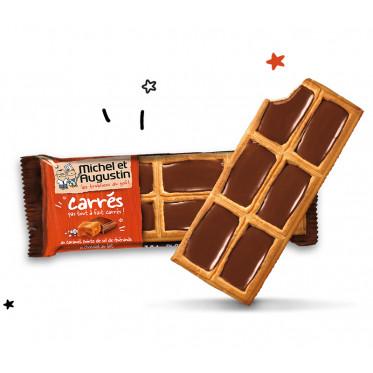 Petits carrés pas tout à fait carrés au caramel, pointe de sel et chocolat au lait 73g