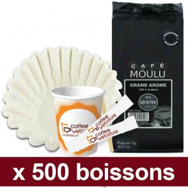 "Café Moulu Café de Paris Grand Arome Arabica : Pack Pro ""Small"" - 500 boissons"