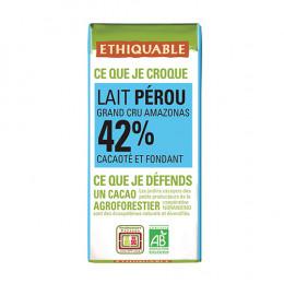 Mini tablette de chocolat lait 42% Ethiquable