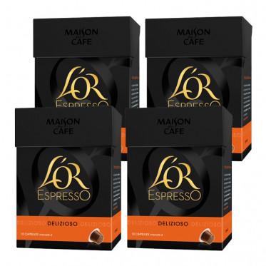 Capsule Nespresso Compatible L'OR Espresso Delizioso 4 boites - 40 capsules