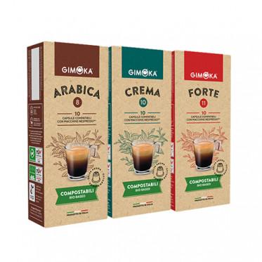 Pack Découverte Capsules Nespresso compatible - compostable - Gimoka - 30 capsules