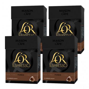 Capsule Nespresso Compatible L'OR Espresso Forza 4 boites - 40 capsules