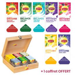 Pack Découverte Thé Lipton - 7 boîtes - 175 sachets + un coffret en bois OFFERT