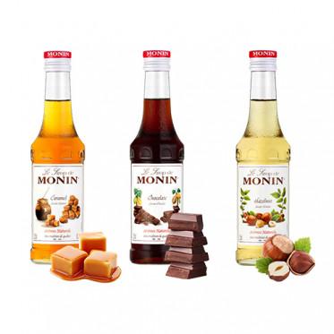 Pack Sirop Monin fruits : Caramel, Chocolat, Noisette - 3 x 25cl