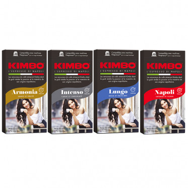 Pack découverte Capsules Nespresso compatible Kimbo - 4 boîtes - 40 capsules