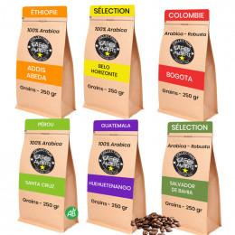 PACK Découverte et dégustation : Café en Grains Café Albert - 6 paquets