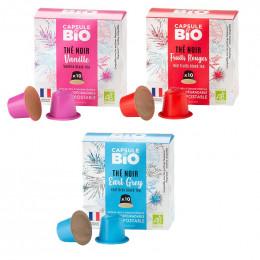 PACK Thé Noir Capsules Nespresso® compatible sans aluminium sans plastique - 3 parfums - 30 capsules