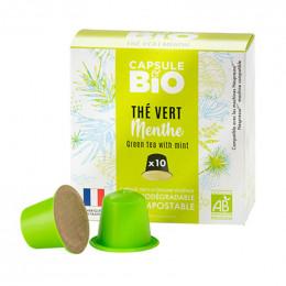 Capsules Nespresso compatible sans aluminium sans plastique - Thé Vert Menthe Bio - 10 capsules