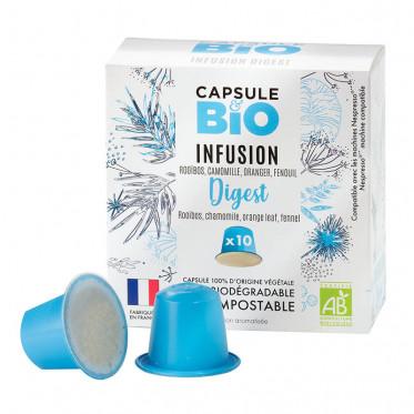 Capsules Nespresso compatible sans aluminium sans plastique - Infusion Digest Bio - 10 capsules