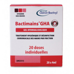 Gel hydroalcoolique Bactimains en doses individuelles EN14476 - 20 sachets