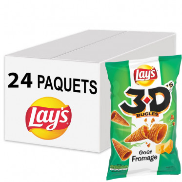 Biscuits Apéritif - Lay's 3D Fromage - 24 paquets