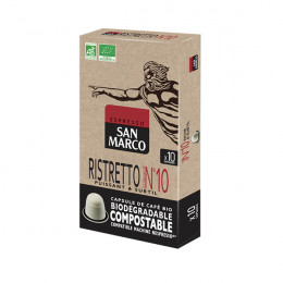 Capsules Nespresso compatible - biodégradable et compostable - Ristretto N°10 Bio San Marco - 10 capsules