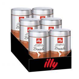 Café en Grains Caffè illy Espresso Sélection Brésil - 6 boîtes - 1,5 Kg