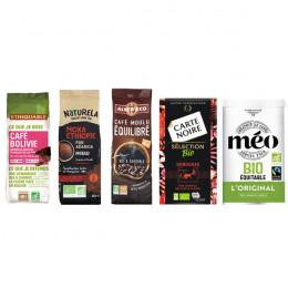 Pack Découverte Café Moulu Bio - 5 paquets - 1,25 Kg