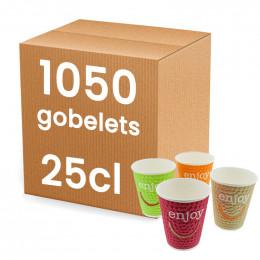Gobelets en Gros en Carton Double Paroi Enjoy 25 cl : 875 gobelets