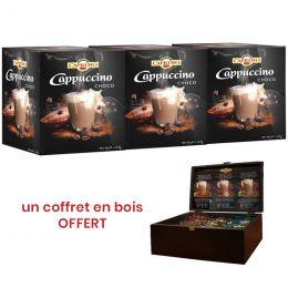 Cappuccino Caprimo Choco - 3 boîtes distributrices - 300 dosettes individuelles + un coffret en bois OFFERT