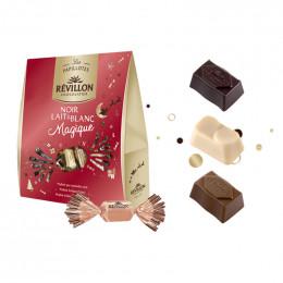 Pochette de Papillotes Révillon : chocolat Noir, Lait, Blanc Magique - 365 gr