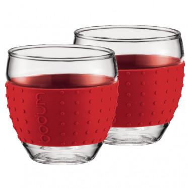 Tasse Bodum : Pavina Verre Expresso Rouge 10 cl - par 2