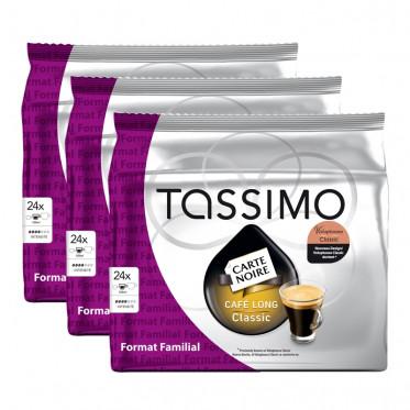 """Capsule Tassimo Carte Noire Café Long Classic """"Format Familial"""" 3 paquets - 72 T-Discs"""