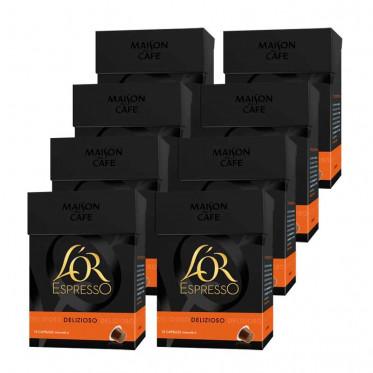 Capsule Nespresso Compatible L'Or Espresso Delizioso 8 boites - 80 capsules