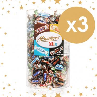 Barre Chocolatée : 3 tubos Célébration mini Twix, Mars, Bounty, Snickers - 3 x 296 pièces