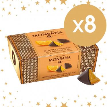 Cadeau d'affaires : 8 ballotins Quartiers d'oranges au chocolat noir Monbana - 8 x 200 gr