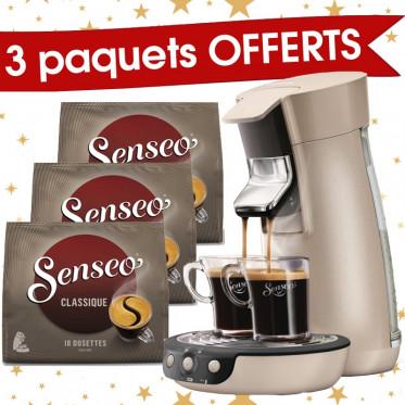 Machine à Dosettes Souples Senseo Viva Café Perle + 3 paquets de Senseo Classique offerts