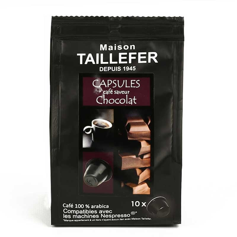 capsule nespresso compatible maison taillefer caf chocolat 10 capsules. Black Bedroom Furniture Sets. Home Design Ideas