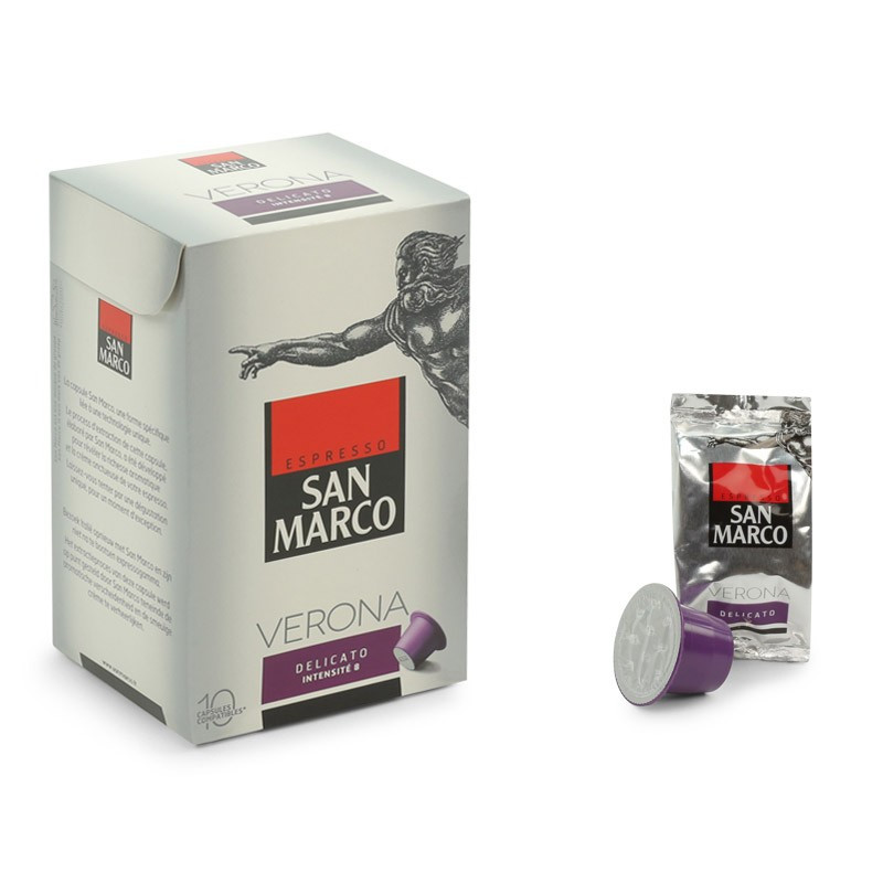 capsule nespresso compatible san marco verona delicato 6 boites 60 capsules san marco. Black Bedroom Furniture Sets. Home Design Ideas