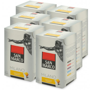 """Capsule Nespresso Compatible San Marco Milano """"Leggero"""" - 6 boites - 60 capsules"""
