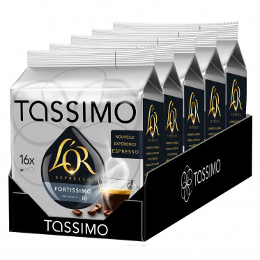 Capsule Tassimo L'Or Espresso Fortissimo - 5 paquets - 80 T-Discs