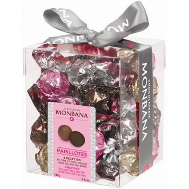Chocolat Monbana Mini-Box Praliné : Papillotes Noir praliné, Lait, Caramel et Crêpe dentelle - 25 pièces