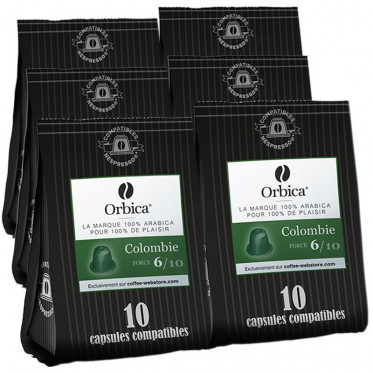 Capsules Nespresso Compatibles Orbica Colombie - 6 paquets - 60 capsules