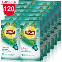 Capsule Nespresso Compatible Infusion Verveine Menthe Lipton - 12 paquets - 120 capsules