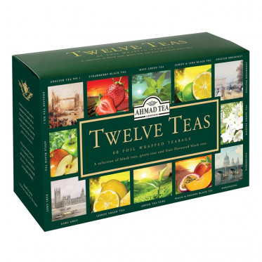 Coffret de Thés Ahmad Tea London Twelve Teas - 12 parfums - 60 sachets