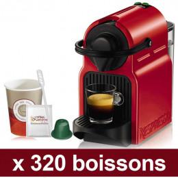 """Machine Nespresso Inissia Rouge avec capsules compatibles Orbica : Pack Pro """"Medium"""" - 320 boissons"""