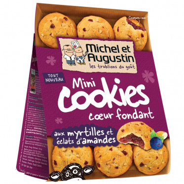 Mini Cookies Coeur Fondant aux Mystilles et Éclats d'Amandes - 150 gr