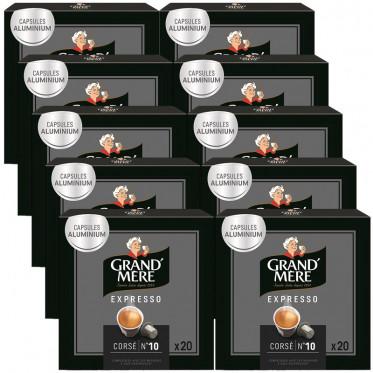 Capsule Nespresso Compatible Grand'Mère Corsé - 10 boîtes - 200 capsules