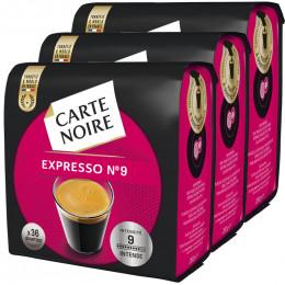 Dosette Souple Carte Noire n°9 Intense 3 paquets - 108 pads