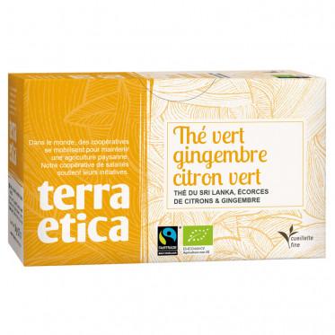 Thé Vert Gingembre Citron Vert - Origine Sri Lanka - Terra Ética - 20 sachets
