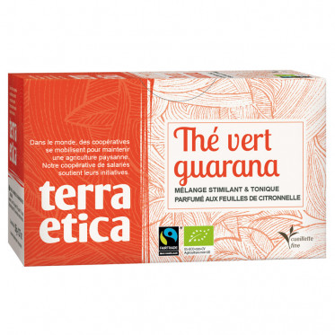 Thé Vert Guarana Citronelle - Origine Sri Lanka - Terra Ética - 20 sachets