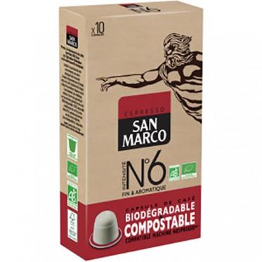 Capsules Nespresso compatible - biodégradable et compostable - N°6 San Marco - 10 capsules