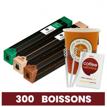 Capsules Nespresso Compatibles : Pack Pro - 300 boissons