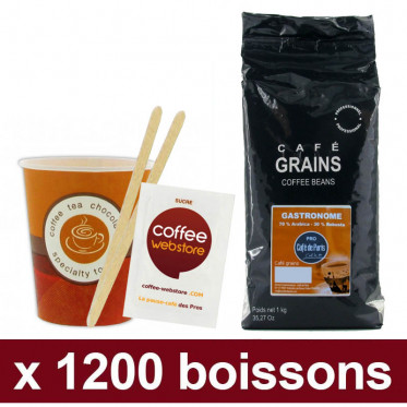 "Café en Grains Café de Paris Gastronome : Pack Pro ""Large"" - 1200 boissons"