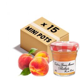 Confiture Bonne Maman - Mini pot en verre de confiture de Pêche - 15x 30g